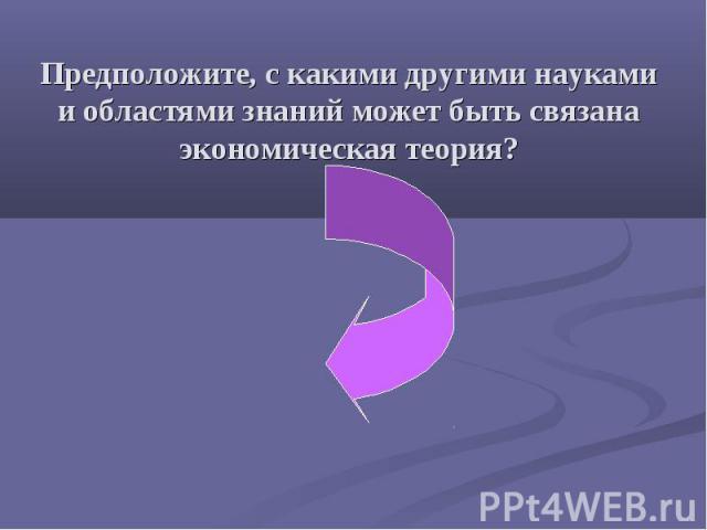 Предположите, с какими другими науками и областями знаний может быть связана экономическая теория?