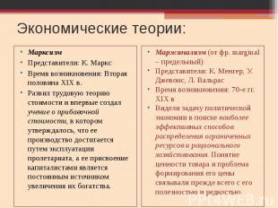 Экономические теории: Марксизм Представители: К. Маркс Время возникновения: Втор