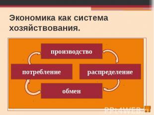 Экономика как система хозяйствования. Экономическая деятельность – это производс