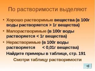 Хорошо растворимые вещества (в 100г воды растворяется > 1г вещества) Хорошо р