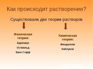Существовали две теории растворов Существовали две теории растворов
