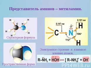 Представитель аминов – метиламин.