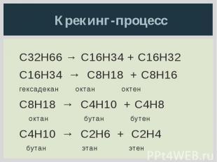 Крекинг-процесс C32H66 → C16H34 + C16H32 C16H34 → C8H18 + C8H16 гексадекан октан