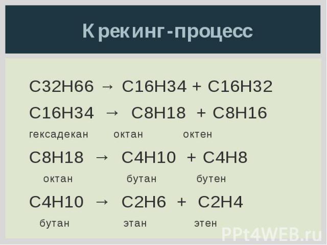 Крекинг-процесс C32H66 → C16H34 + C16H32 C16H34 → C8H18 + C8H16 гексадекан октан октен C8H18 → C4H10 + C4H8 октан бутан бутен C4H10 → C2H6 + C2H4 бутан этан этен