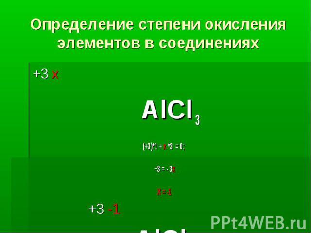 Определение степени окисления элементов в соединениях +3 х АlСl 3 (+3)*1 + х *3 = 0; +3 = - 3х Х = -1 +3 -1 АlСl 3