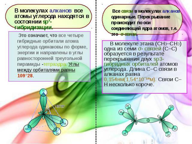 В молекуле этана (CH3–СH3) одна из семи σ- связей (С–С) образуется в результате перекрывания двух sp3- гибридных орбиталей атомов углерода. Длина С–С связи в алканах равна 0,154нм(1,54*10ˉ¹ºм). Связи С–Н несколько короче. В молекуле этана (CH3–СH3) …