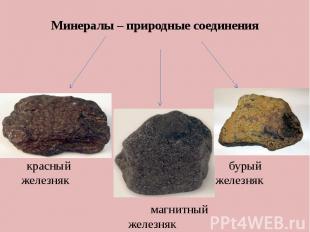 Минералы – природные соединения красный бурый железняк железняк магнитный железн