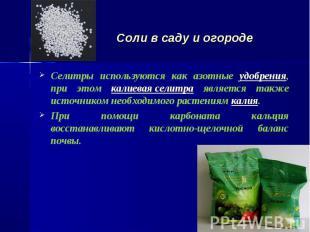 Селитры используются как азотные удобрения, при этом калиевая селитра является т