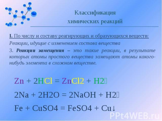 I. По числу и составу реагирующих и образующихся веществ: Реакции, идущие с изменением состава вещества 3. Реакции замещения – это такие реакции, в результате которых атомы простого вещества замещают атомы какого-нибудь элемента в сложном веществе.