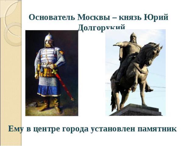 Основатель Москвы – князь Юрий Долгорукий Основатель Москвы – князь Юрий Долгорукий