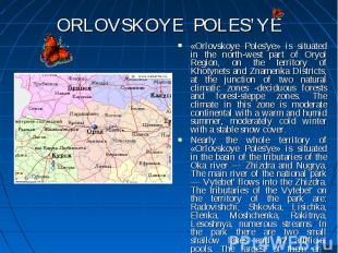 «Orlovskoye Poles'ye» is situated in the north-west part of Oryol Region, on the