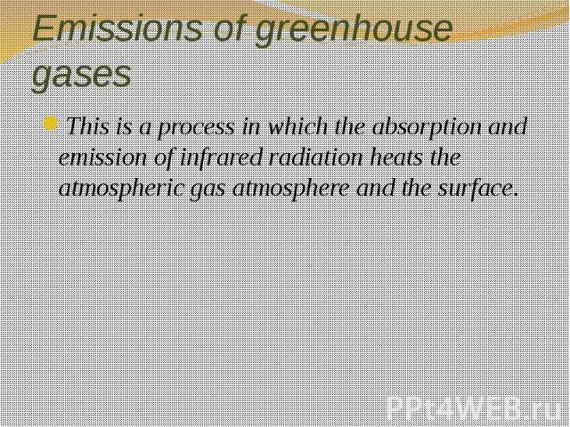 Emissions of greenhouse gases This is a process in which the absorption and emission of infrared radiation heats the atmospheric gas atmosphere and the surface.