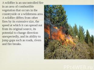 A wildfire is an uncontrolled fire in an area of combustible vegetation that occ