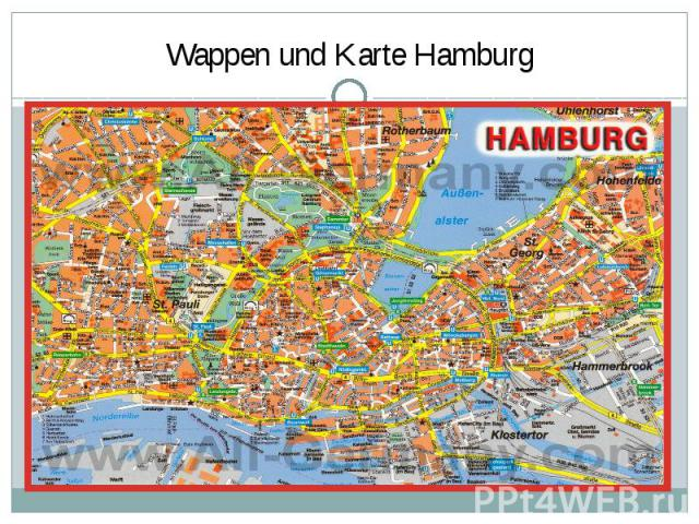 Wappen und Karte Hamburg