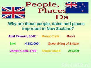 Why are these people, dates and places important in New Zealand? Why are these p