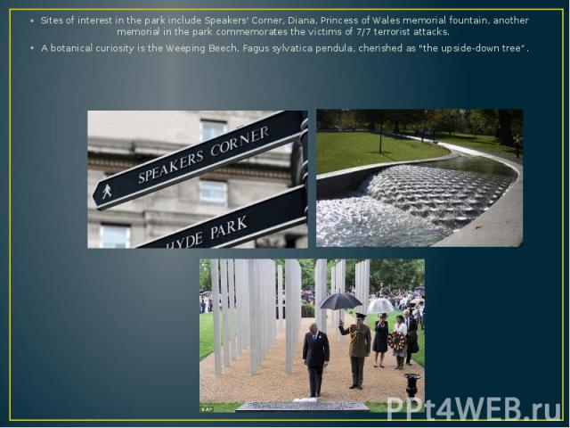 Sites of interest in the park include Speakers' Corner, Diana, Princess of Wales memorial fountain, another memorial in the park commemorates the victims of 7/7 terrorist attacks. Sites of interest in the park include Speakers' Corner, Diana, Prince…