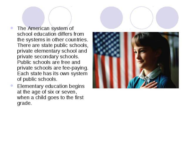 The American system of school education differs from the systems in other countries. There are state public schools, private elementary school and private secondary schools. Public schools are free and private schools are fee-paying. Each state has …