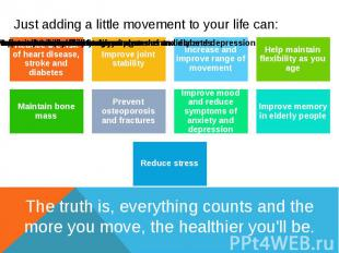 Just adding a little movement to your life can: