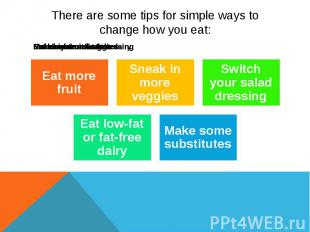 There are some tips for simple ways to change how you eat: