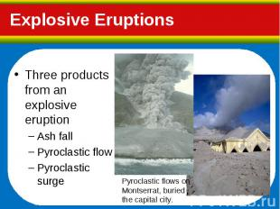Three products from an explosive eruption Three products from an explosive erupt