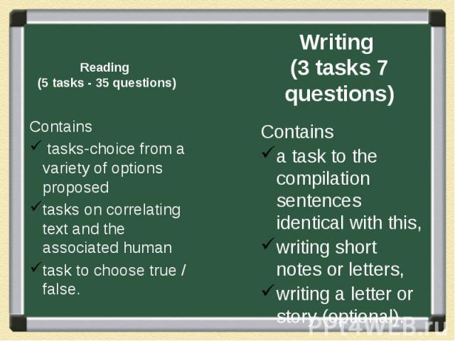Reading (5 tasks - 35 questions) Contains tasks-choice from a variety of options proposed tasks on correlating text and the associated human task to choose true / false.