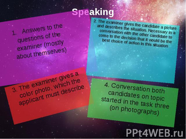 Speaking Answers to the questions of the examiner (mostly about themselves)