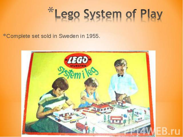 Complete set sold in Sweden in 1955. Complete set sold in Sweden in 1955.