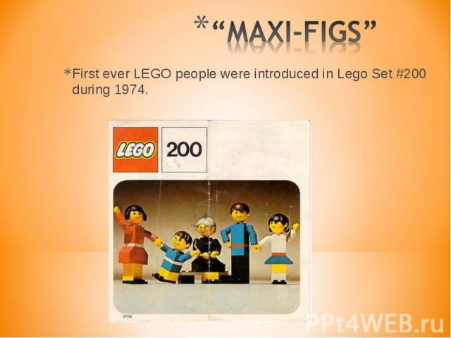 First ever LEGO people were introduced in Lego Set #200 during 1974. First ever LEGO people were introduced in Lego Set #200 during 1974.