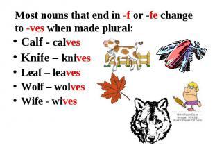 Calf - calves Calf - calves Knife – knives Leaf – leaves Wolf – wolves Wife - wi
