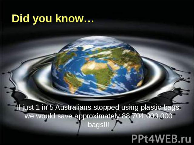 Did you know… If just 1 in 5 Australians stopped using plastic bags, we would save approximately 88,704,000,000 bags!!!