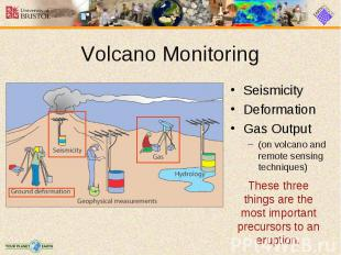 Seismicity Seismicity Deformation Gas Output (on volcano and remote sensing tech