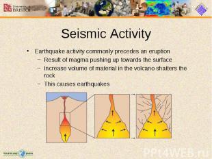 Earthquake activity commonly precedes an eruption Earthquake activity commonly p