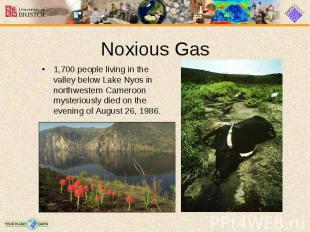 1,700 people living in the valley below Lake Nyos in northwestern Cameroon myste