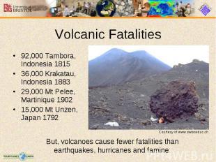92,000 Tambora, Indonesia 1815 92,000 Tambora, Indonesia 1815 36,000 Krakatau, I