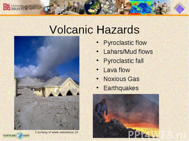 Pyroclastic flow Pyroclastic flow Lahars/Mud flows Pyroclastic fall Lava flow Noxious Gas Earthquakes