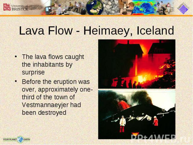 The lava flows caught the inhabitants by surprise The lava flows caught the inhabitants by surprise Before the eruption was over, approximately one-third of the town of Vestmannaeyjer had been destroyed