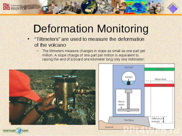 """""""Tiltmeters"""" are used to measure the deformation of the volcano """"Tiltmeters"""" are used to measure the deformation of the volcano The tiltmeters measure changes in slope as small as one part per million. A slope change of one part per million is equiv…"""