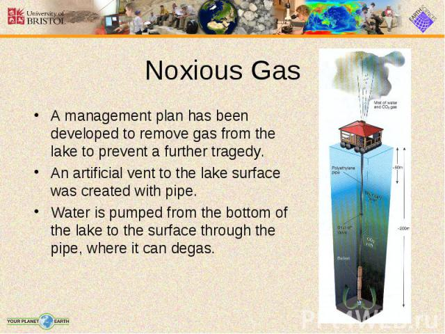 A management plan has been developed to remove gas from the lake to prevent a further tragedy. A management plan has been developed to remove gas from the lake to prevent a further tragedy. An artificial vent to the lake surface was created with pip…