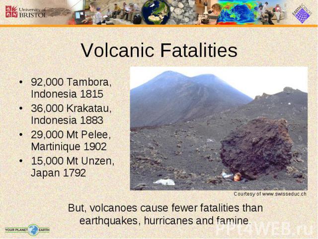 92,000 Tambora, Indonesia 1815 92,000 Tambora, Indonesia 1815 36,000 Krakatau, Indonesia 1883 29,000 Mt Pelee, Martinique 1902 15,000 Mt Unzen, Japan 1792