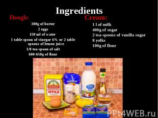 Ingredients Dough: 300g of butter 2 eggs 150 ml of water 1 table spoon of vinega