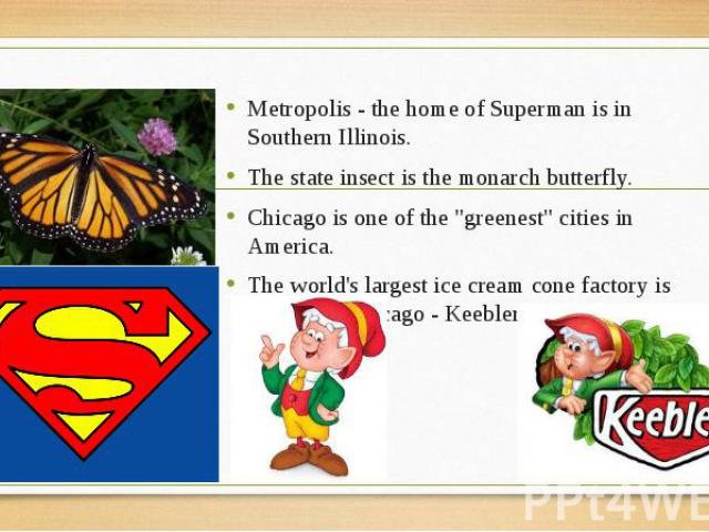 """Metropolis - the home of Superman is in Southern Illinois. Metropolis - the home of Superman is in Southern Illinois. The state insect is the monarch butterfly. Chicago is one of the """"greenest"""" cities in America. The world's largest ice cr…"""