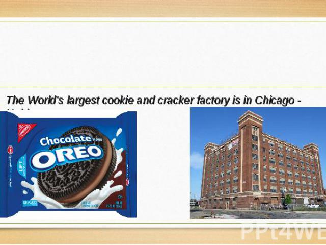 The World's largest cookie and cracker factory is in Chicago - Nabisco. The World's largest cookie and cracker factory is in Chicago - Nabisco.