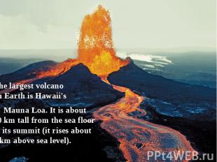 The largest volcano on Earth is Hawaii's  Mauna Loa. It is a
