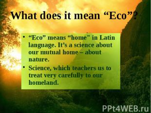"""Eco"" means ""home"" in Latin language. It's a science about our mutual home"