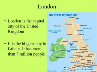 London London is the capital city of the United Kingdom It is the biggest city i