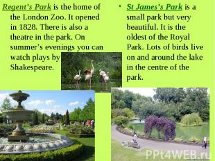 Regent's Park is the home of the London Zoo. It opened in 1828. There is also a