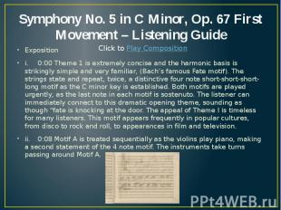 Symphony No. 5 in C Minor, Op. 67 First Movement – Listening Guide Exposition i.