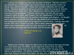 Ludwig van Beethoven had two younger brothers. Nikolaus Johann van Beethoven (17