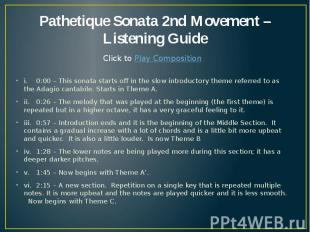 Pathetique Sonata 2nd Movement – Listening Guide i. 0:00 – This sonata starts of