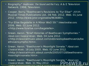 """Biography."""" Beethoven: The Sound and the Fury. A & E Television Network"""